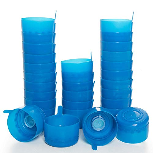 Gonioa 30 Pack 3 & 5 Gallon Non-Spill Bottle Caps 55mm, Anti Splash Bottle Caps Reusable for 55mm 3 and 5 Gallon Water Jugs, Reusable Lids for Water Dispenser Jugs Water Containers