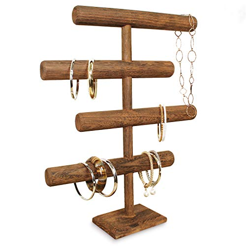 MOOCA Lightweight Wooden 4-Tier Jewelry Display Stand, Wooden Necklace Jewelry Display Organizer Bracelet Holder for Shows, Wooden Bracelet Watch Display Stand, Brown Color