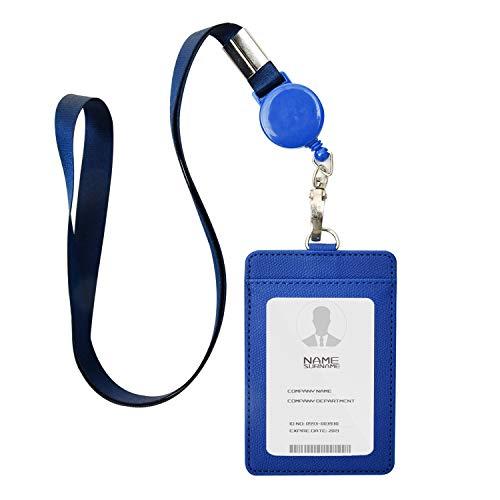 IDカードホルダー ネームホルダー 名札ホルダー PUレザー 横型 社員証 カードケース カードケース メンズ 防水 伸縮リール式 ネックストラップ 吊り下げ パスケース カード入れ 名札ケース 定期入れ 通勤 通学 男女兼用 名刺入れ (縦+ブルー)