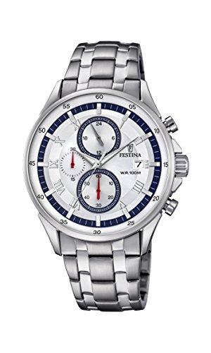 Festina Herren Chronograph Quarz Uhr mit Edelstahl Armband F6853/1