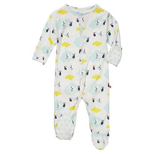 Piccalilly, Ropa de Dormir, con los pies, Jersey de algodón orgánico, bebé, Unisex, cigüeña