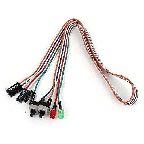 SODIAL(R) PC Gehaeuse Rot Gruen LED-Lampe ATX Stromversorgung neu HDD-Schalter Leitungsdraht 20