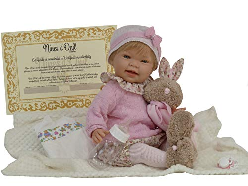 Muñeca Tita Reborn con accesorios, preciosa muñeca con un peso aproximado de 1,5kg y con cuerpo articulado. Incluye pañal, chupete con cadena, manta y biberón