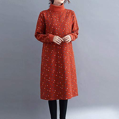 LXDWJ Turtleneck Thaleen Fleece Cálido Otoño Vestido de Invierno Imprimir Floral Mujeres Vestido Plus Tamaño Vestido Casual Femenino (Color : B, Size : XX-Large)