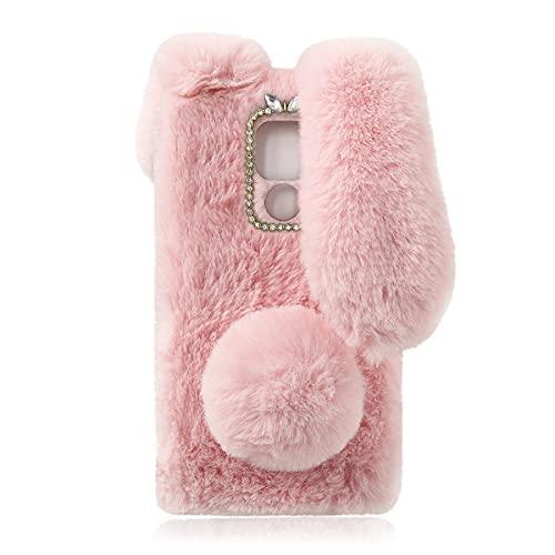 Flauschige Plüschhülle für Moto G9 Play, Süßer Hase Pelzige Mädchen Cover 3D Tier Fuzzy Schutzhülle Kaninchen Cony Haar Kawaii Kid Spielzeug Spaß Frauen Telefon Shell für...