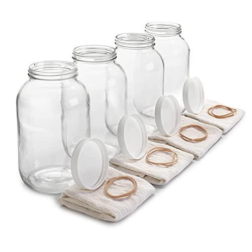 4 Pack - 1 Gallon Glass Jar w/ Plastic Airtight Lid, Muslin Cloth, Rubber Band - Wide Mouth Easy Clean - Dishwasher Safe - Kombucha, Kefir, Canning, Sun Tea, Fermentation, Food Storage