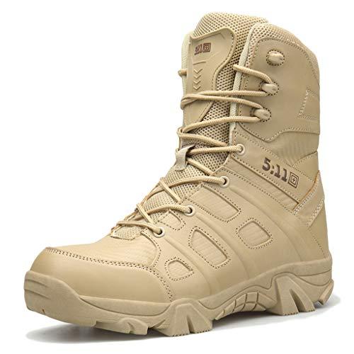 Wygwlg Hommes armée Militaire Chaussures de Combat Forces spéciales Bottes en Cuir Patrouille imperméable à l'eau Travail randonnée Botte Durable Cadet Bottes,Sand color-47