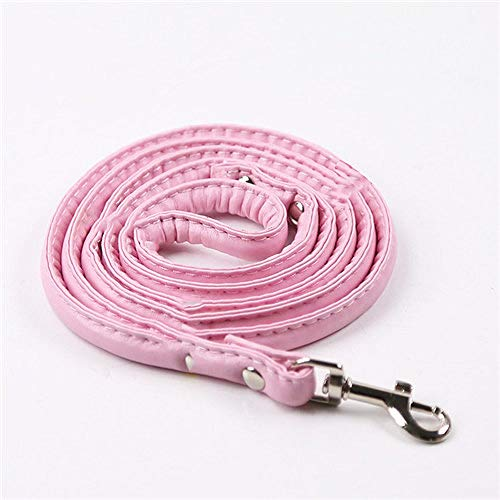 LilonGXI hondenlijn, roze, modieus leer, ronde hond voor kleine medium dogs servies, soft walking pet puppy dog outdoor wandelschoenen veiligheidstraining loop, L