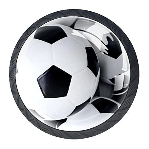 4 pomos de gabinete de cocina de ABS estilo Morden con diseño de balones de fútbol, asas redondas para cajones y cajones