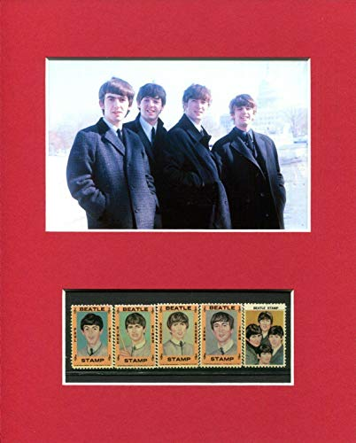 1964 Hallmark Original Rare The Beatles Color Stamp Set of 5 Rare Photo Display - Music Plaques and Collages