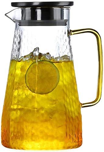 GHJA Jarra de Agua Jarra de Vidrio con Tapa Mango Helado Jarra de Vidrio Resistente al Calor para té/Agua fría Caliente/Hielo Vino Café Leche y Jugo Borosilicato Jarra de Bebida con Boquilla