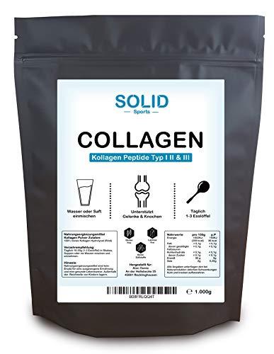 Collagen Pulver 1kg - Kollagen Hydrolysat Peptide Typ I, II und II - Eiweiß-Pulver Geschmacksneutral Made in Germany - SOLID Sports