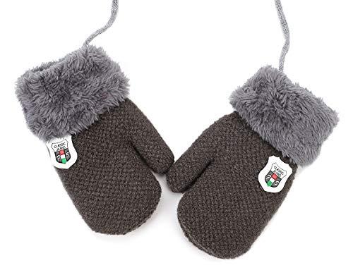 IBLUELOVER Manoplas niños bebé Chicas Chicos Guantes Invierno Guante de esquí Guantes de Punto Gloves Guantes fríos Forro Polar Guantes con la Cuerda del Cuello Regalo Navidad