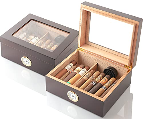 GlassTop Handcrafted Cigar Humidor (25-50 Cigars) - Cigar Gifts for Men, Fathers Day - Cigar Accessories - Cherry Wood Humidor Cigar Box for Cuban Cigars - Humidor Humidifier with Front Hygrometer