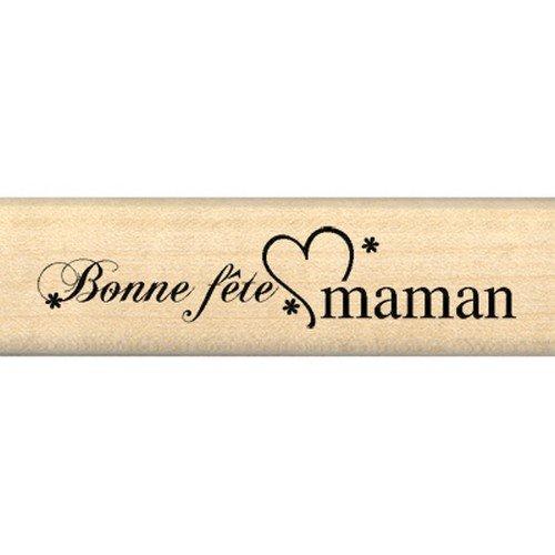 Florilèges Design Tampon Scrapbooking Bonne Fête Maman, marrón, 2 x 7 x 2,5 cm