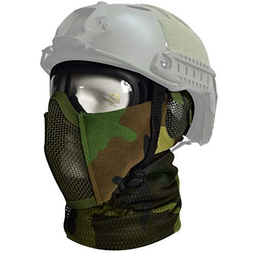 QMFIVE Airsoft halbe Gesichtsmaske, Taktische Maske mit Gehörschutz Jagd Paintball Military Motorrad Cosplay Film Prop (WL+Googles+Scarf)