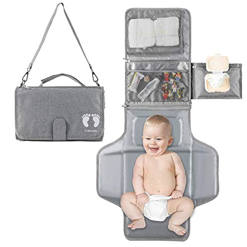 Portable Diaper Changing Pad with Built-in Head Cushion & Smart Wipes Pocket, Waterproof Travel Changing Table Pad with Big Pockets, Baby Changing...