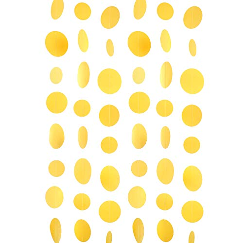 WEVEN Yellow Paper Garland Circle Dot Party Banner Streamer Backdrop Hanging Decorations, 20 Feet in Total
