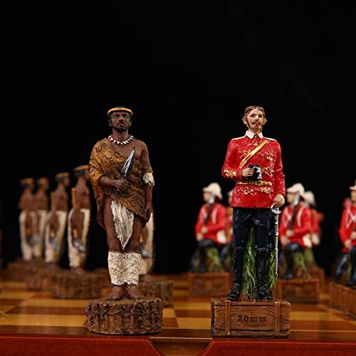 Scacchiera per Bambini e Adulti Scacchiera Scacchi Set di tema di Anglo Zulu Guerra Set di scacchi Bambola in resina Bambola di scacchi pezzi tavola di legno Bambino gioco di scacchi Set bambini gioca
