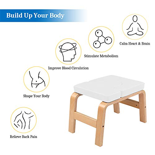 CAMORSA Yoga Chair Wooden Headstand Bench Stool, Chair Trainer, Gym Workout Stool White