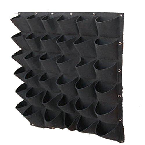 Gosear Wand Montiert Hängende Vertikal Bepflanzung Taschen Grün Wachsen Pflanzer mit 36 Taschen für Haus Wand Balkon Garten Versorgung Schwarz