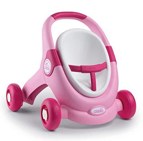 Smoby 210205 Minikiss 3in1 Lauflernwagen, Puppensitz, Puppenwagen, für Kinder ab 12 Monaten, Rosa
