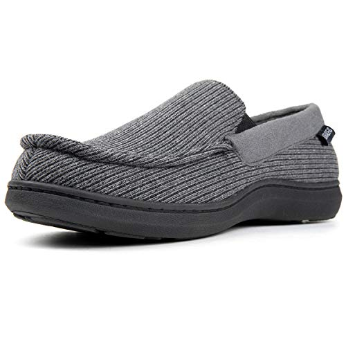 ULTRAIDEAS Men's Cozy Memory Foam Moccasin Slippers with Anti-Skid Indoor Rubber Sole, Breathable Lightweight Knitted Closed Back House Shoes,Grey,13