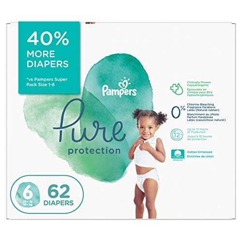 Diapers Size 6 - Pampers Pure Protection Disposable Baby Diapers, 62 Count,...
