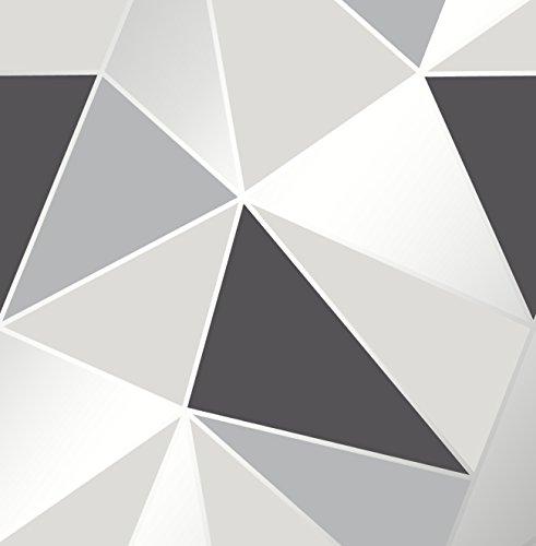 Fine Decor FD41994 Uk Apex Geo Sidewall - Papel pintado, color negro y plateado