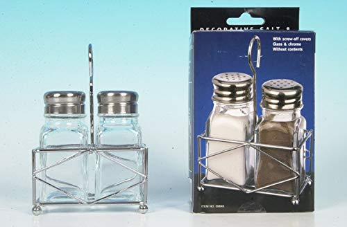 e2e Set Of Clear Glass Salt And Pepper Shaker & Chrome Holder Stand