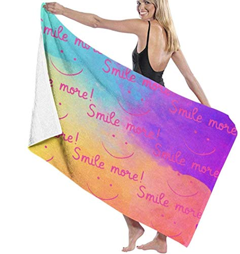 Beach Towel,Soft Super Absorbent Lightweight Bath Towel Smile More Bath Towel Adult Soft Microfiber Printed Beach Towels Travel Towel Bath Towels Suitable For Children And Adults130*80cm