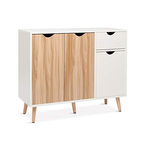 Meerveil Kommode, Sideboard Holz mit 1 Schubladen und 3 Türen für Wohnzimmer Schlafzimmer Flur, Weiß und Natur 90 x 30 x 73 cm