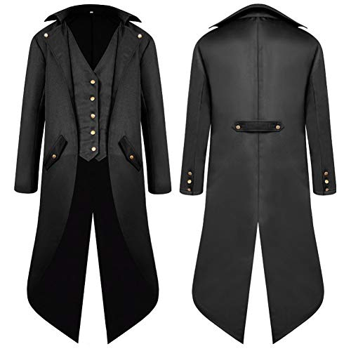 SwissWell Herren Steampunk Vintage Gothic Jacke warme Frack Herrenjacke Knöpfe Langer Mantel Cosplay Kostüm Graben Bomberjacke Cape mit Weste,Schwarz,EU-2XL/Herstellergröße-4XL