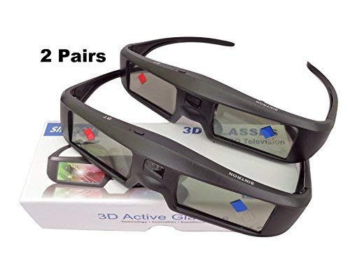 Sintron 3D Active Shutter Glasses Rechargeable ST07-BT For RF/Bluetooth Sony, Panasonic, Samsung 3D TV & Epson 3D projector, 3D Glasses Eyewear Compatible TDG-BT500A TY-ER3D5MA TY-ER3D4MA (2 Pairs)