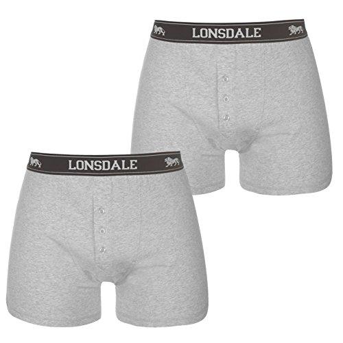 Lonsdale Herren 2 Stück Boxer Unterhose Grau XL