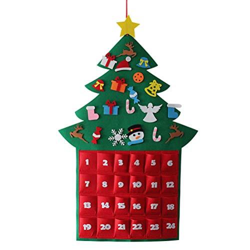 Amosfun Fieltro Calendario de Adviento Navideño Colgando Árbol de Navidad Calendario de Cuenta atrás Festival DIY Decoración niños (Verde Oscuro)