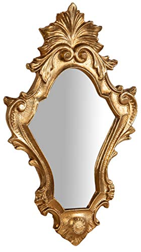 Biscottini Specchio Specchiera da parete stile Shabby in legno con finitura Foglia Oro Anticato misure L25xPR2,5xH40 cm produzione Artigianato Fiorentino Made in Italy