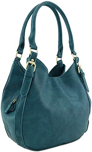 Light weight 3 Compartment Faux Leather Medium Hobo Bag Teal product image
