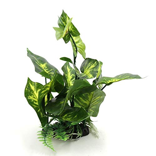HYY-YY Grüne Kunststoff-Terrarium Behälter Naturgetreue Pflanze Dekorative Ornament for Reptilien Amphibien