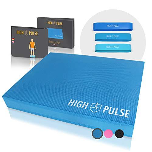High Pulse Colchoneta + Poster Ejercicios + Bandas elásticas fitness – Plataforma de Equilibrio para Fitness, Yoga, Pilates y Tratamiento de Lesiones