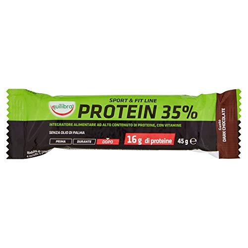 Equilibra Barretta Proteica per Sport Protein 35%, con Vitamine, 45g