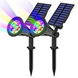 Solar Spotlights, T-SUN 7 LED Color-Changing Solar Landscape Lamps, 2-in-1 Multi Use Outdoor Wall Lights, Decorative Lights for Outdoor, Garden, Lawn, Pathway, Party & Christma.