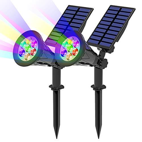(2 Unidades) T-SUN 7LED Foco Solar, Impermeable Luces Solares Exterior de 7 Color Cambio, Luz de Jardín, Seguridad Luz y Luz de Proyecto Solar para Paisaje, Entrada, Patio, Garaje, Muro, Camino.
