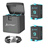 Artman Hero 9 Batteries 1800mAh(2-Pack) and 3-Channel USB Storage Quick Charger for Gopro Hero 9 Black, Fully Compatible with Gopro Hero 9 Battery and Charger (1800mAh)