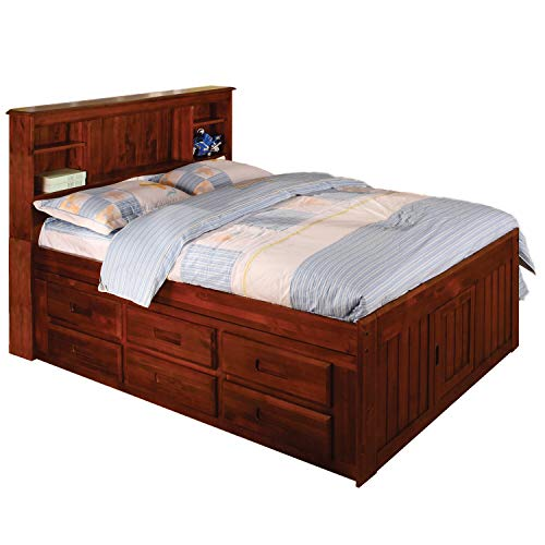 American Furniture Classics Merlot Solid Pine Full-Sized 12-Drawer Captain's Bed