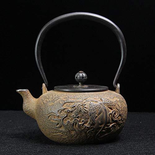 Tetera japonesa Tetsubin Hervidor de hierro con boca de plata, tetera de hierro fundido sin recubrimiento, hecha a mano pura, tetera de hierro con agua hirviendo, tetera de hierro para la sa