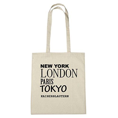 jollify empereur Kaiserslautern Sac en coton B1008, Coton, natur: New York, London, Paris, Tokyo