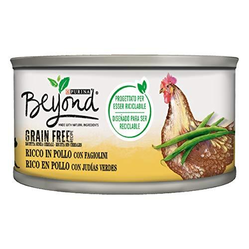 Purina Beyond Húmedo Gato Grain Free Rico en Pollo con judías, 12 latas de 85 g Cada una de 12 x 85 g ✅
