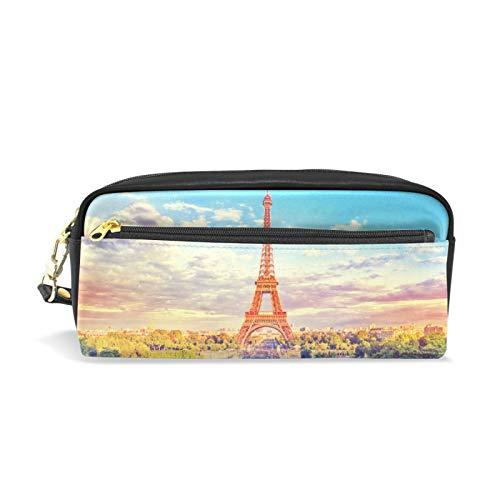 Reißverschluss groß Make-up Kosmetikstift Bleistift Schreibwaren Aufbewahrungsbeutel Tasche Fall Eiffelturm Brunnen Paris Frankreich Retro Vintage
