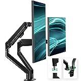 EleTab Supporto per Doppio Monitor Supporto da scrivania per Braccio del Monitor con Molla a Gas Regolabile in Altezza Adatto per 2 schermi LCD per PC da 13-32 Pollici, 9KG | VESA: 75-100